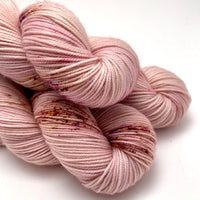 "Hand Dyed Yarn ""Sophrosyne"" Rose Blush Mauve Gold Brown Pink Purple Speckled Merino Sport Weight Superwash 328yds 100g"