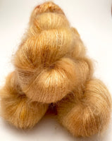 "RESERVED for Debbie** Hand Dyed Yarn ""Wheat Kings"" Yellow Beige Honey Tan Gold Blonde Brown Speckled SuperKid Mohair Silk 465yds 50g x4 hanks"