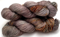 "Hand Dyed Yarn ""Here There Be Dragons"" Brown Green Khaki Grey Gold Caramel Rust Speckled Merino Fingering Singles Superwash 465yds 115g"
