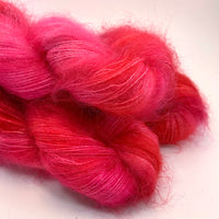 "Hand Dyed Yarn ""Kenspeckle XXXVI"" Pink Magenta Hot Pink Apple Red DidIMentionPink SuperKid Mohair Silk Laceweight 465yds 50g"