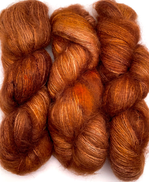 "Hand Dyed Yarn ""Just Rusted Enough"" Rust Copper Brown Cinnamon Orange Caramel Gold SuperKid Mohair Silk Laceweight 465yds 50g"
