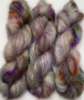 "Hand Dyed Yarn ""Cthulhu's Dogs are Barking"" Brown Violet Orange Green Grey Lime Blue Navy SuperKid Mohair Silk Laceweight 465yds 50g"