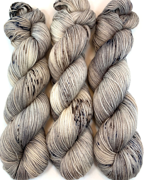 "Hand Dyed Yarn ""Silverbirchenstick"" Grey Beige Greige Brown Tan Ecru Speckled Merino Fine Fingering Superwash 438yds 100g"