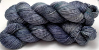"Hand Dyed Yarn ""Loose and Complete"" Navy Green Blue Grey Teal Spruce Speckled Merino Silk Fingering Superwash Singles 438yds 100g"