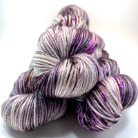"Hand Dyed Yarn ""Cobwebs and Dust"" Purple Grey Brown Pink Speckled Merino Silk DK Weight Superwash 231yds 100g"