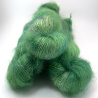"Hand Dyed Yarn ""Just Esacarole with It"" Green Spruce Emerald Sage Lime Grey Speckled Kid Mohair Silk Laceweight 465yds 50g"