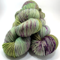 "Hand Dyed Yarn ""Evenfall"" Green Sage Olive Grey Purple Violet Brown Speckled Merino Fine Fingering Superwash 438yds 100g"