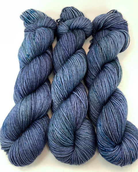 "Hand Dyed Yarn ""Nightswimming"" Blue Navy Spruce Grey Green Speckled Merino Sport Weight Superwash 328yds 100g"