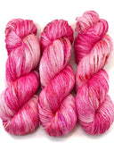 "Hand Dyed Yarn ""Oink Ponk"" Pink Hot Pink Magenta Pink Fuchsia Purple Gold Yellow Speckled Silk Linen 735yds 115g"