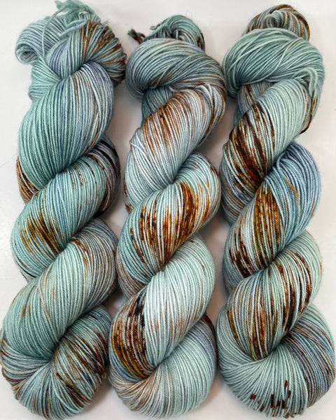 "Hand Dyed Yarn ""Verdigris"" Green Brown Navy Spruce Sage Grey Copper Speckled Merino Nylon Fingering Weight Superwash 463yds 100g"