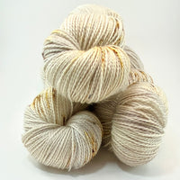 "Hand Dyed Yarn ""Sand in My Sandals"" Silver Grey Gold Ecru Caramel Tan Brown Speckled Merino Mohair Nylon Fingering SW 425yds 115g"
