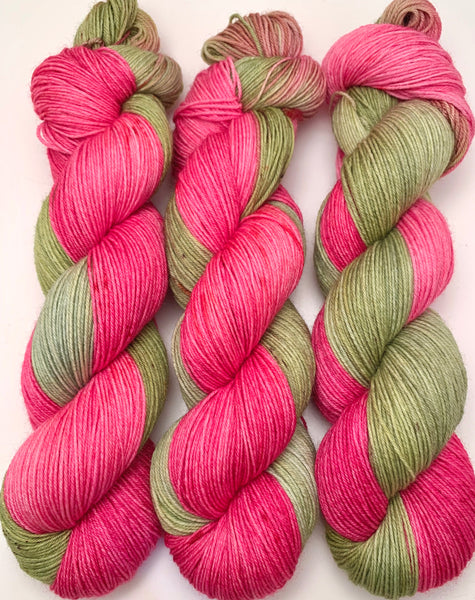 "Hand Dyed Yarn ""Swamp Diva"" Green Pink Olive Magenta Yellow Brown Speckled Merino Nylon Sock Fingering SW 437yds 100g"