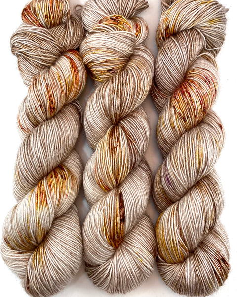 "Hand Dyed Yarn ""Caramel Mochaccino"" Brown Taupe Tan Gold Caramel Pink Red Speckled Merino Silk Fingering Singles Superwash 438yds 100g"