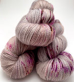 "Hand Dyed Yarn ""In the Gloaming"" Brown Grey Taupe Tan Purple Gold Caramel Speckled Merino Mohair Nylon Fingering Sock SW 425 yds 115g"