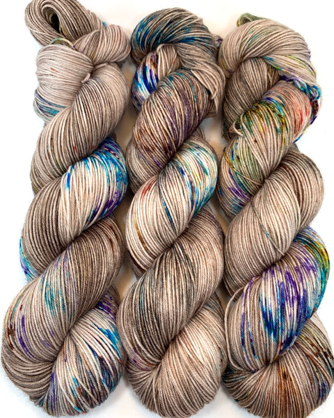 "Hand Dyed Yarn ""Geode"" Brown Blue Turquoise Rust Violet Copper Yellow Speckled Merino Nylon Fine Fingering SW 463yds 100g"