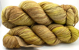 "Hand Dyed Yarn ""Chartrooze"" Green Yellow Chartreuse Lime Olive Chestnut Merino Worsted SW 218yds 100g"