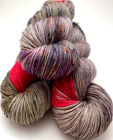 "Hand Dyed Yarn ""Cthulhu's Kinky Boots"" Green Brown Grey Orange Blue Pink Red Merino Nylon Fingering SW 463yds 100g"