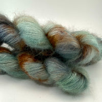 "Hand Dyed Yarn ""Verdigris"" Green Brown Navy Spruce Sage Grey Copper Speckled SuperKid Mohair Silk Lace 465yds 50g"
