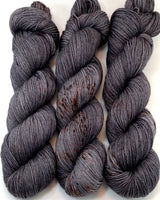 "RESERVED for Barbara** Hand Dyed Yarn ""Cast Iron"" Grey Brown Gray Charcoal Smoky Black Merino DK Superwash 231yds 100g x 10 hanks"