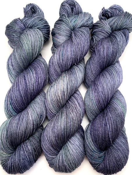 "Hand Dyed Yarn ""Loose and Complete"" Navy Spruce Green Grey Blue Teal Speckled Merino Nylon Fingering SW 463yds 100g"