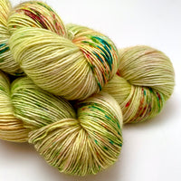 "Hand Dyed Yarn ""Freshly Squeezed"" Green Lime Orange Gold Fuchsia Pink Emerald Yellow Speckled Merino Silk Fingering Superwash Singles 438yds 100g"