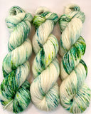 "Hand Dyed Yarn ""Viridescent"" Green Emerald Lime Spruce Yellow Ecru Speckled Bluefaced Leicester DK Weight Superwash 248yds 100g"