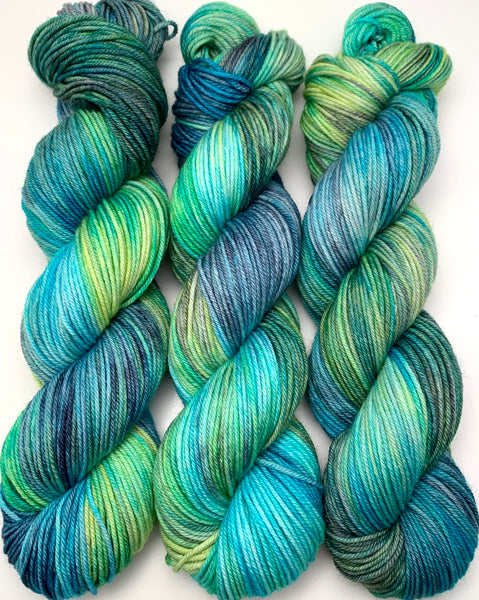 "Hand Dyed Yarn ""Tropical Turmoil"" Lime Teal Grey Aqua Turquoise Blue Navy Green Merino Nylon DK Yarn SW 248yds 100g"