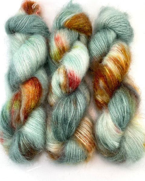 "Hand Dyed Yarn ""Pheasant Plucker"" Green Grey Teal Yellow Gold Brown Red SuperKid Mohair Silk Laceweight 465yds 50g"