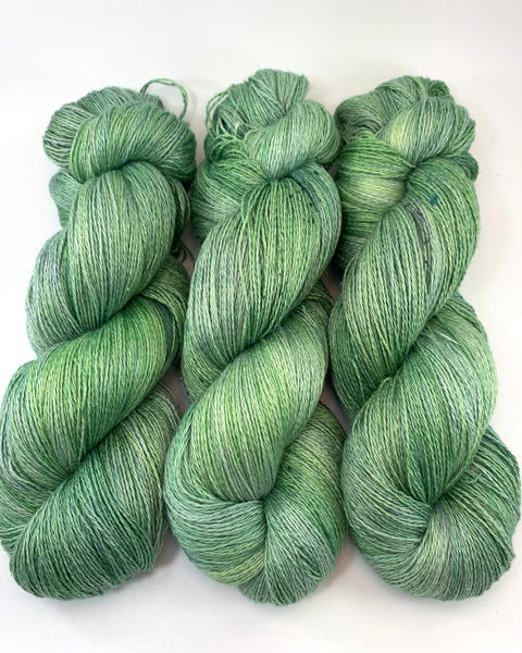 "Hand Dyed Yarn ""Just Escarole With It"" Green Lime Chartreuse Spruce Avocado Sage Grey Speckled Silk Linen Heavy Lace 735yds 115g"