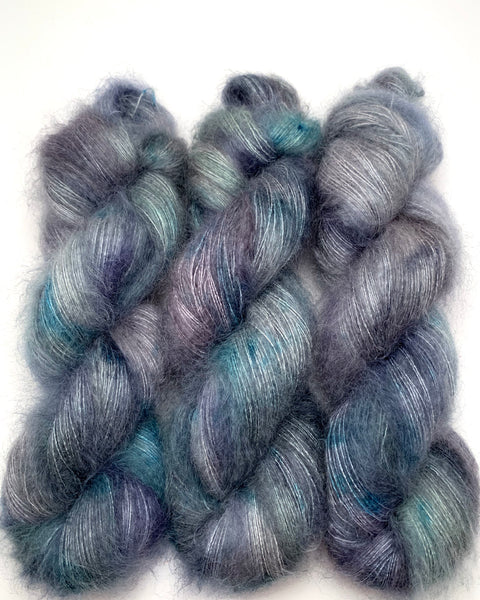 "Hand Dyed Yarn ""Loose and Complete"" Blue Grey Navy Green Spruce Teal SuperKid Mohair Silk Laceweight 465yds 50g"