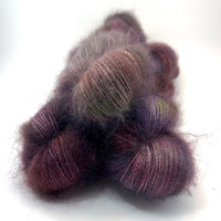 "Hand Dyed Yarn ""Grace, Too"" Green Red Khaki Purple Plum Brown Grey SuperKid Mohair Silk Laceweight 465yds 50g"