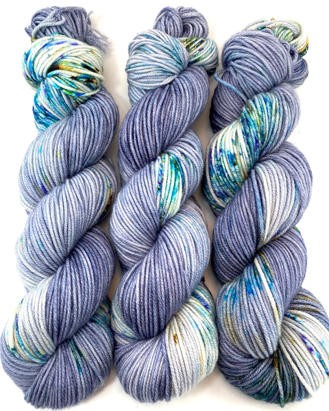 "Hand Dyed Yarn ""BeeBop Blues"" Blue Navy Grey Turquoise Teal Gold Violet Green Yellow Speckled Merino Worsted 8 Ply SW 218yds 100g"