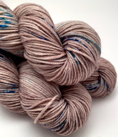 "Hand Dyed Yarn ""Siamese Gaze"" Brown Taupe Tan Turquoise Violet Blue Speckled Merino Nylon DK Yarn SW 248yds 100g"