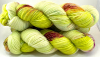 "Hand Dyed Yarn ""Freshly Squeezed"" Lime Green Yellow Chartreuse Pink Fuchsia Teal Bluefaced Leicester Lace Superwash 875yds 100g"