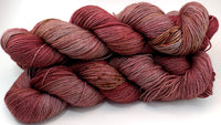 "Hand Dyed Yarn ""Seasoned"" Red Wine Chestnut Gold Caramel Scarlet Brown Maroon Speckled Merino Silk Yak Fingering Superwash 438yds 100g"