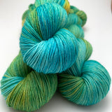 "Hand Dyed Yarn ""Algae"" Green Gold Turquoise Teal Yellow Blue Emerald Teal Speckled Merino Nylon Sock Fingering SW 437yds 100g"