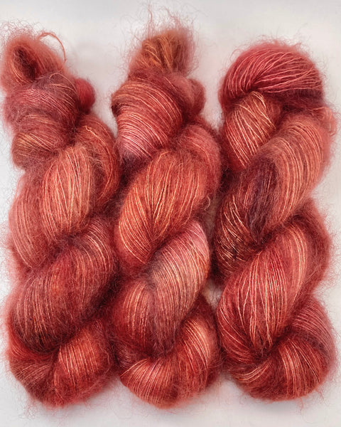 "Hand Dyed Yarn ""Another Brick in the Shawl"" Brick Red Rust Brown Orange Pink Copper Speckled SuperKid Mohair Silk Laceweight 465yds 50g"