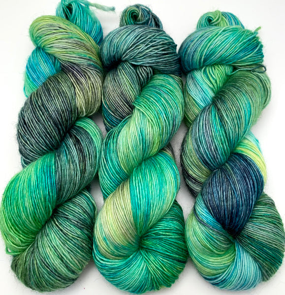 "Hand Dyed Yarn ""Tropical Turmoil"" Grey Lime Blue Green Teal Turquoise Navy Merino Fine Fingering Singles Superwash 465yds 115g"
