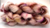 "Hand Dyed Yarn ""Mischievous Grin"" Pink Brown Purple Gold Tan Red Blush SuperKid Mohair Silk Laceweight 465yds 50g"