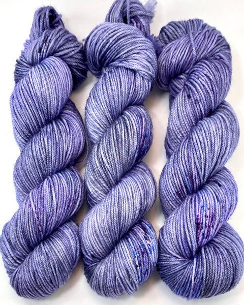 "Hand Dyed Yarn ""Violet Blackregard (Redux)"" Violet Grey Denim Turquoise Blue Purple Merino Nylon Speckled DK Yarn SW 248yds 100g"