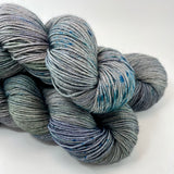 "RESERVED for Lee** Hand Dyed Yarn ""Loose and Complete"" Navy Spruce Green Grey Blue Teal Speckled Merino Silk Yak Fingering SW 438yds 100g x 5 hanks"