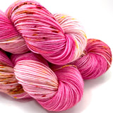 "Hand Dyed Yarn ""Oink Ponk"" Pink Magenta Fuchsia Hot Pink Red Gold Bordeaux Caramel Speckled Merino Nylon Fingering Sock Superwash 463yds 100g"