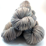 "Hand Dyed Yarn ""Silverbirchenstick"" Grey Tan Silver Brown Black Speckled Merino Worsted 8 Ply SW 218yds 100g"