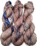 hand dyed yarn brown blue