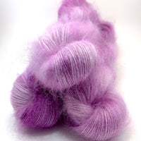"Hand Dyed Yarn ""Lilac Lustre"" Lilac Violet Mauve Pink Purple Fuchsia Magenta SuperKid Mohair Silk Laceweight 465yds 50g"