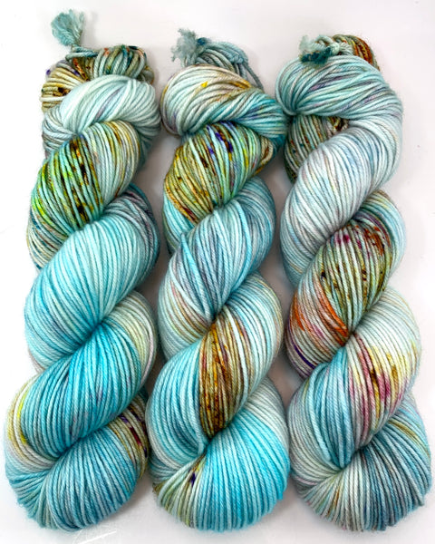 "Hand Dyed Yarn ""Fishgold"" Turquoise Blue Gold Rust Green Pink Violet Speckled Merino DK Weight Superwash 231yds 100g"
