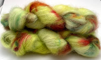 "Hand Dyed Yarn ""Freshly Squeezed"" Green Yellow Lime Teal Pink Fuchsia Orange SuperKid Mohair Silk Laceweight 465yds 50g"