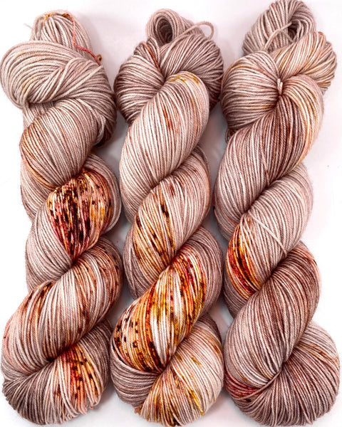 "Hand Dyed Yarn ""Caramel Mochaccino"" Brown Taupe Tan Gold Caramel Pink Speckled Merino Fingering Superwash 438yds 100g"