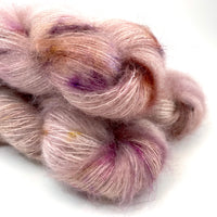 "Hand Dyed Yarn ""Sophrosyne"" Rose Mauve Beige Blush Pink Purple Gold Brown Copper Speckled SuperKid Mohair Silk Laceweight 465yds 50g"