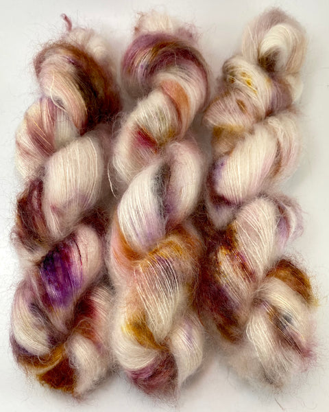"Hand Dyed Yarn ""Mischievous Grin"" Pink Brown Purple Gold Tan Red Ecru Blush SuperKid Mohair Silk Laceweight 465yds 50g"